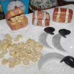 sugar paste, fondant treasure map, treasure chest, cutlass, gold coins, pirate theme