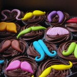 choc chip cupcakes, chocolate butter icing, sugarpaste moustache