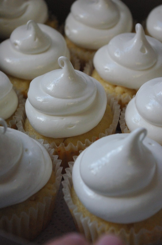 white chocolate chip cupcakes, marshmallow icing
