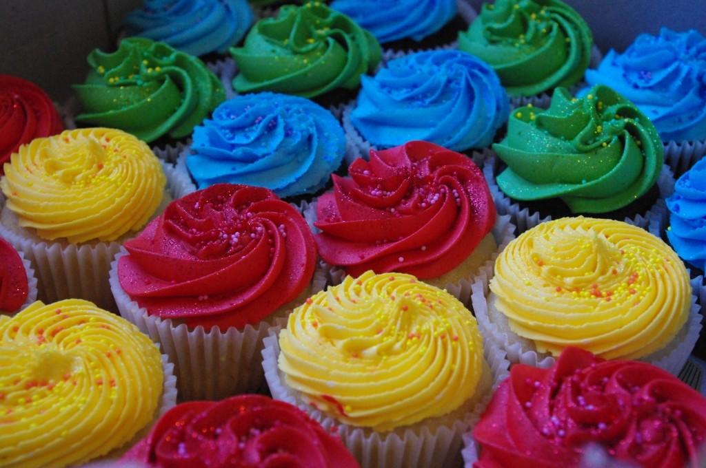 vanilla cupcakes, chocolate cupcakes, bright colour vanilla butter icing