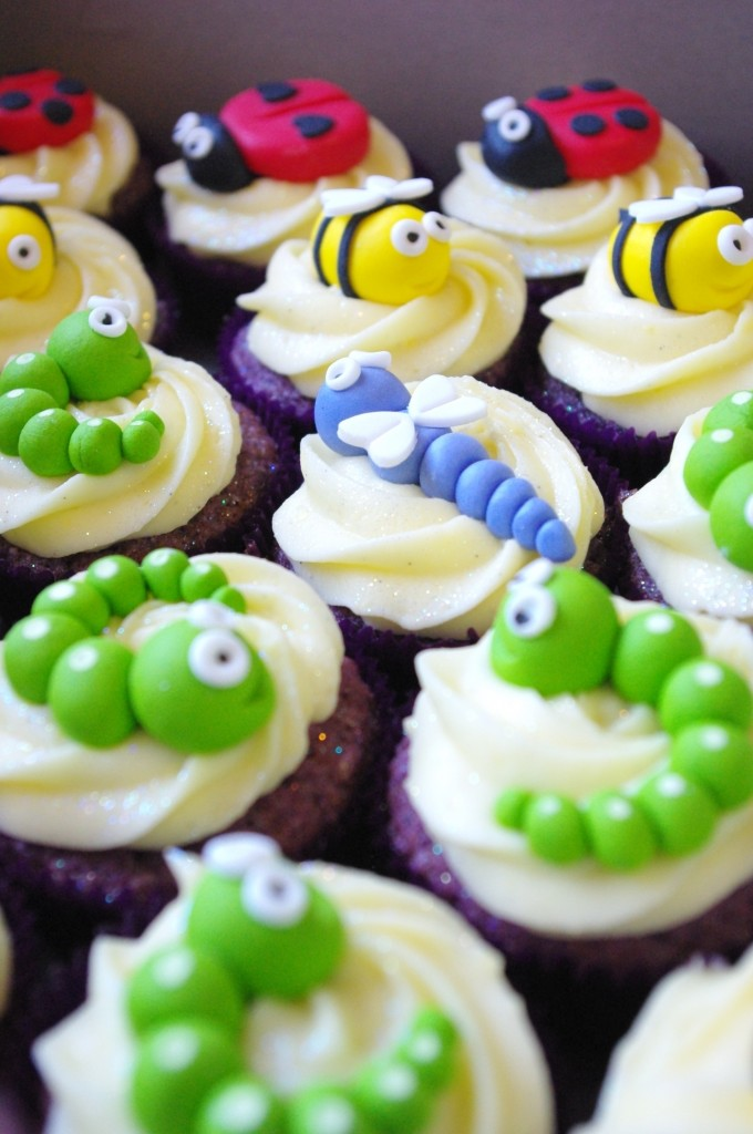 purple velvet cupcakes, cream cheese icing, handmade sugarpaste bugs, insects