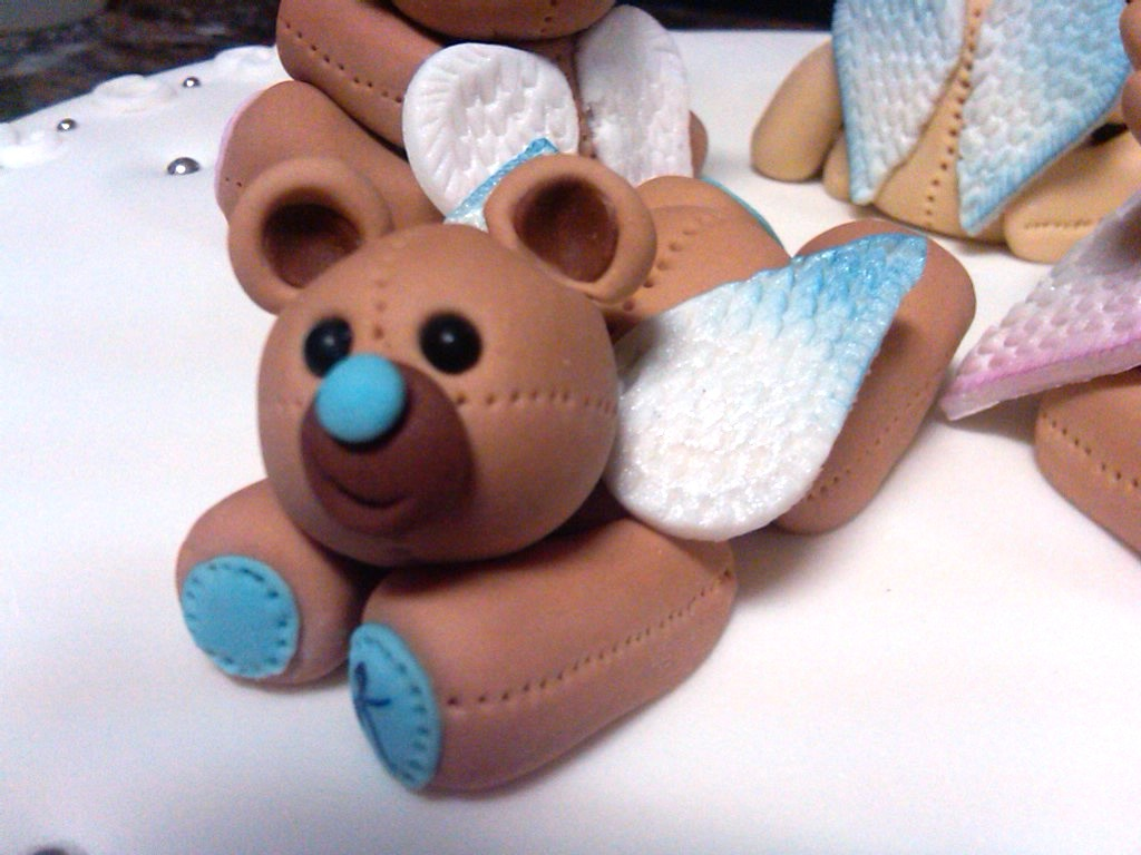 hand made sugarpaste fondant angel bears