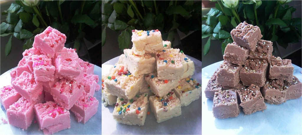 american-style fudge made with white chocolate, strawberry flavour, vanilla flavour, cappuccino flavour