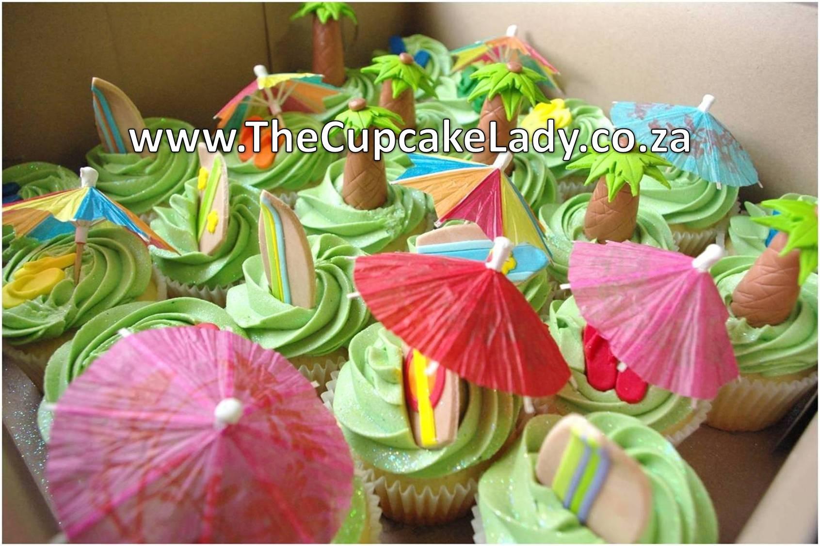 Hawaiian Surf Party Cupcakes