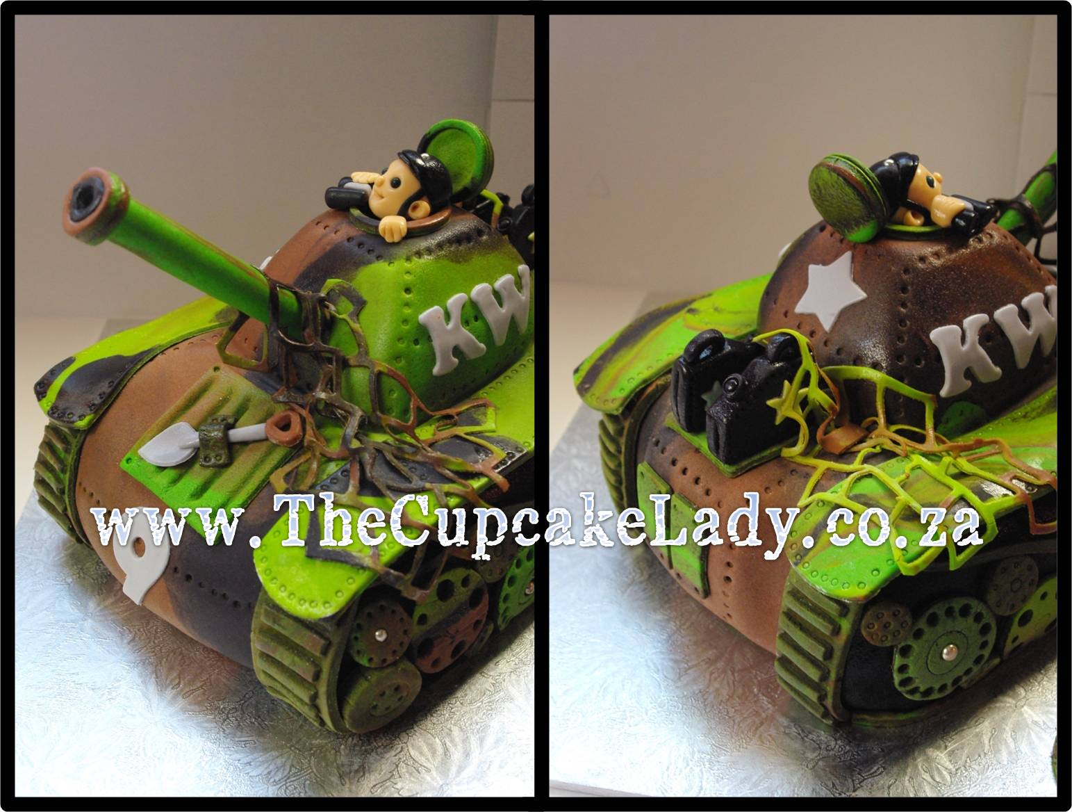 army theme, tank-shaped novelty cake, handmade sugarpaste decorations, camouflage