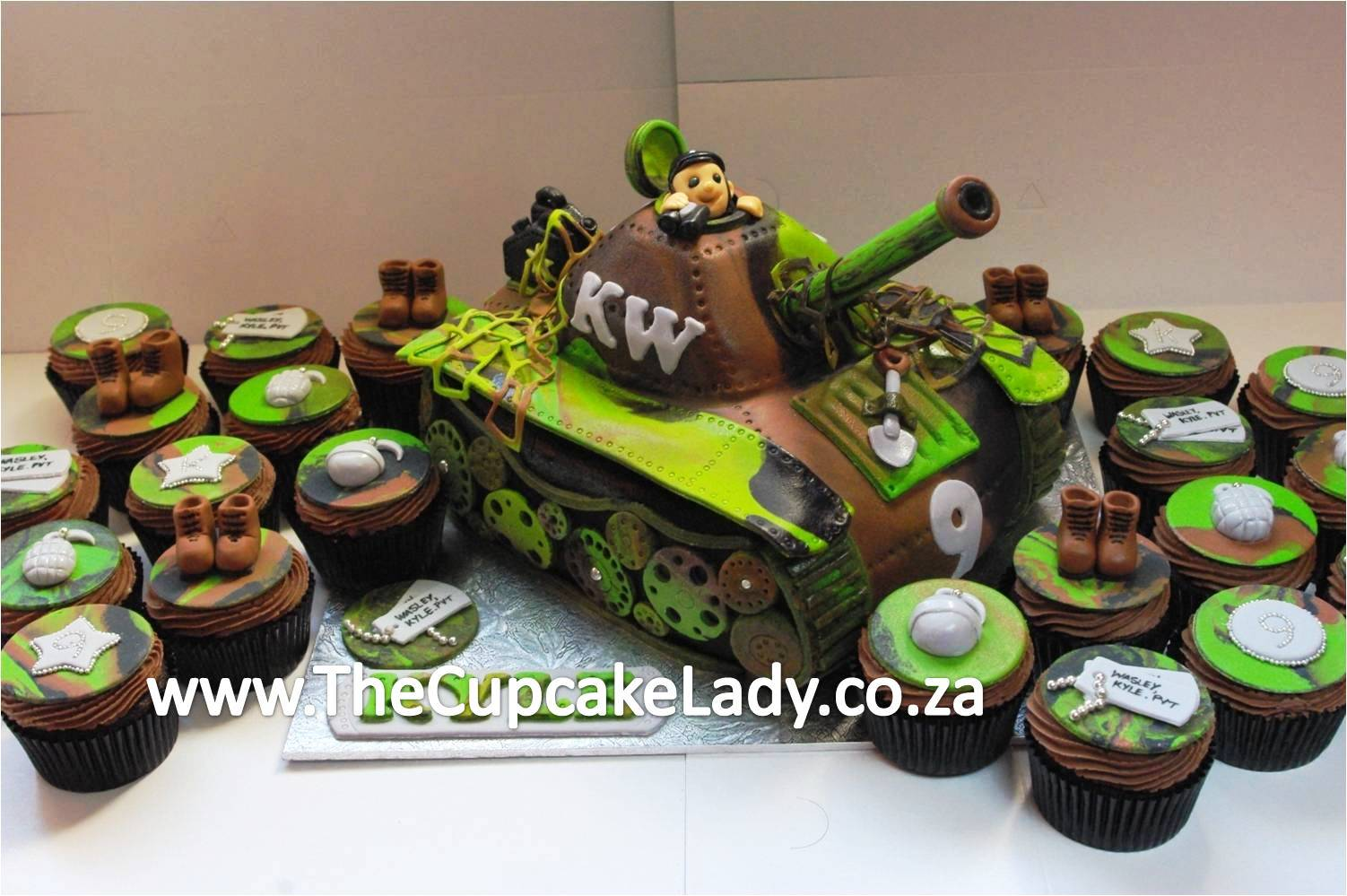 An Army Themed Cake And Cupcake Order