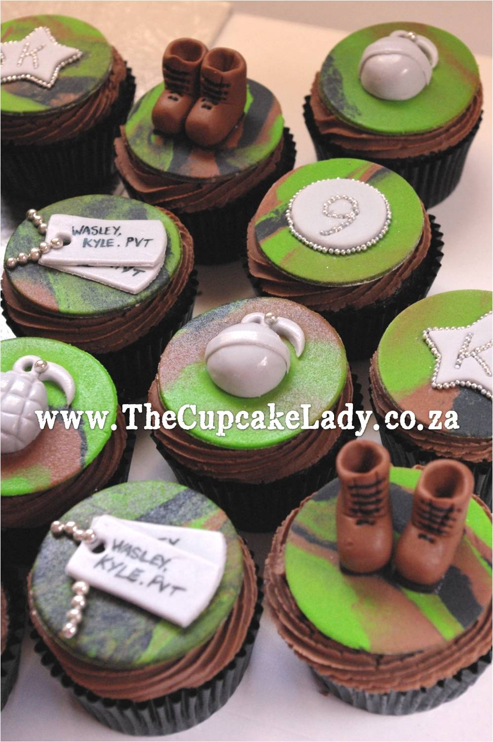army theme cupcakes, handmade sugarpaste decorations, army boots, dog-tags, grenades, camouflage