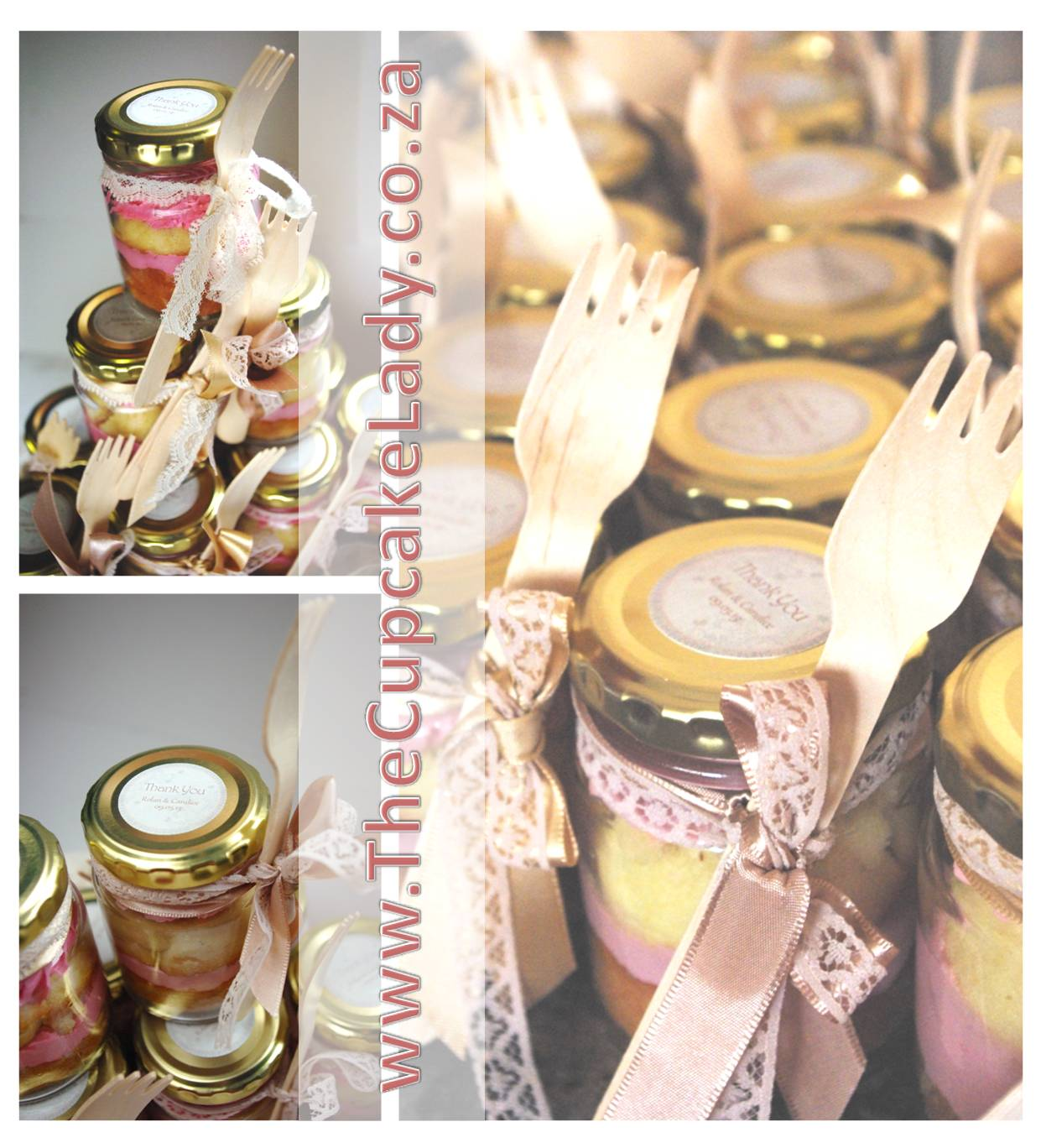 cupcake-in-a-jar, wedding favour, vanilla, lace ribbon