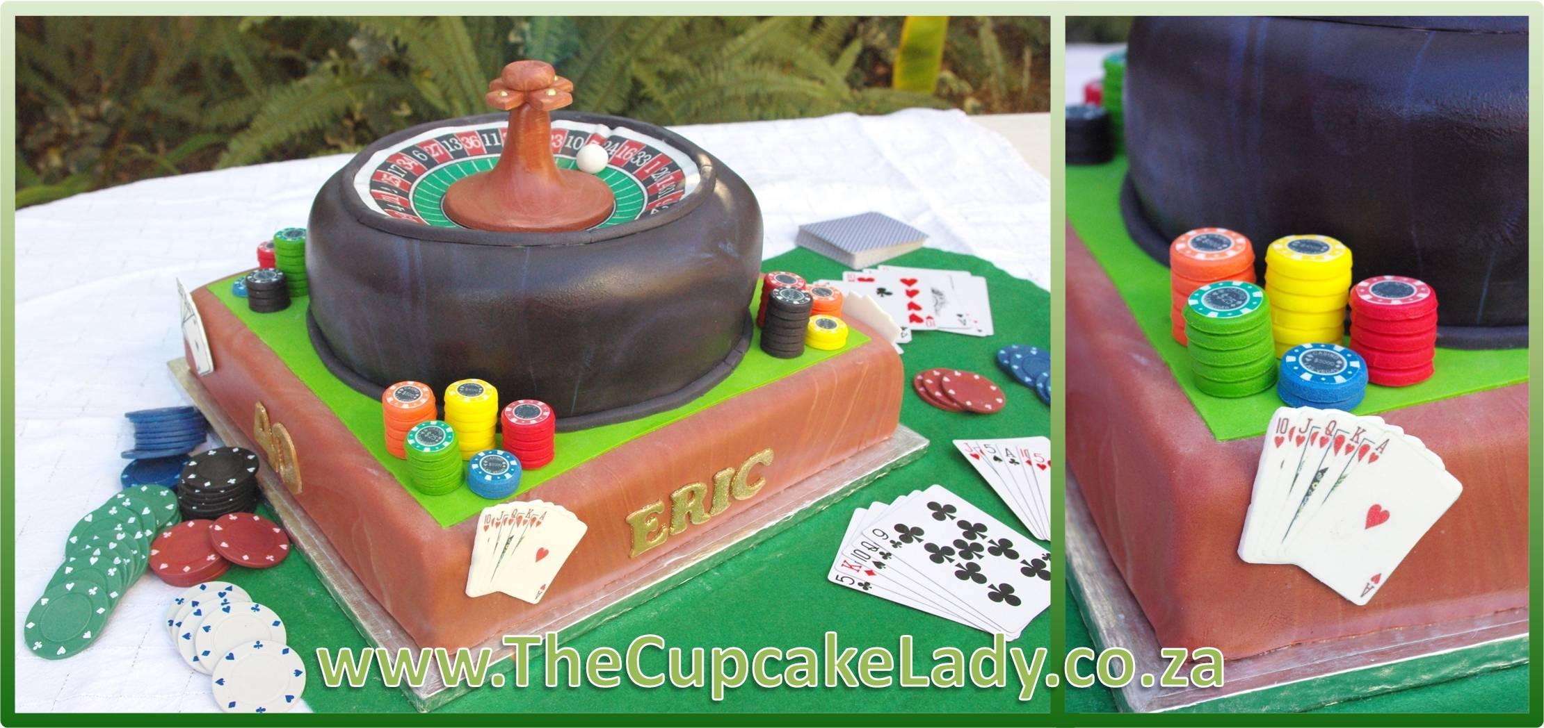 red velvet cake, cream cheese icing, roulette wheel, poker table, playing cards, poker chips