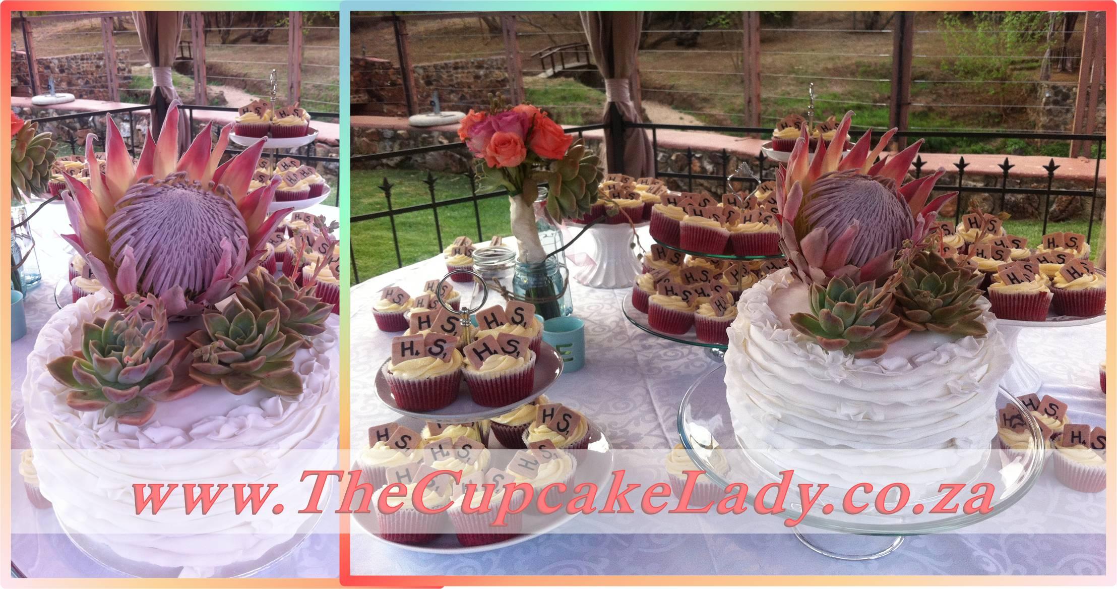 red velvet cake, ruffled cake, scrabble, shabby chic, red velvet cupcakes. cream cheese icing