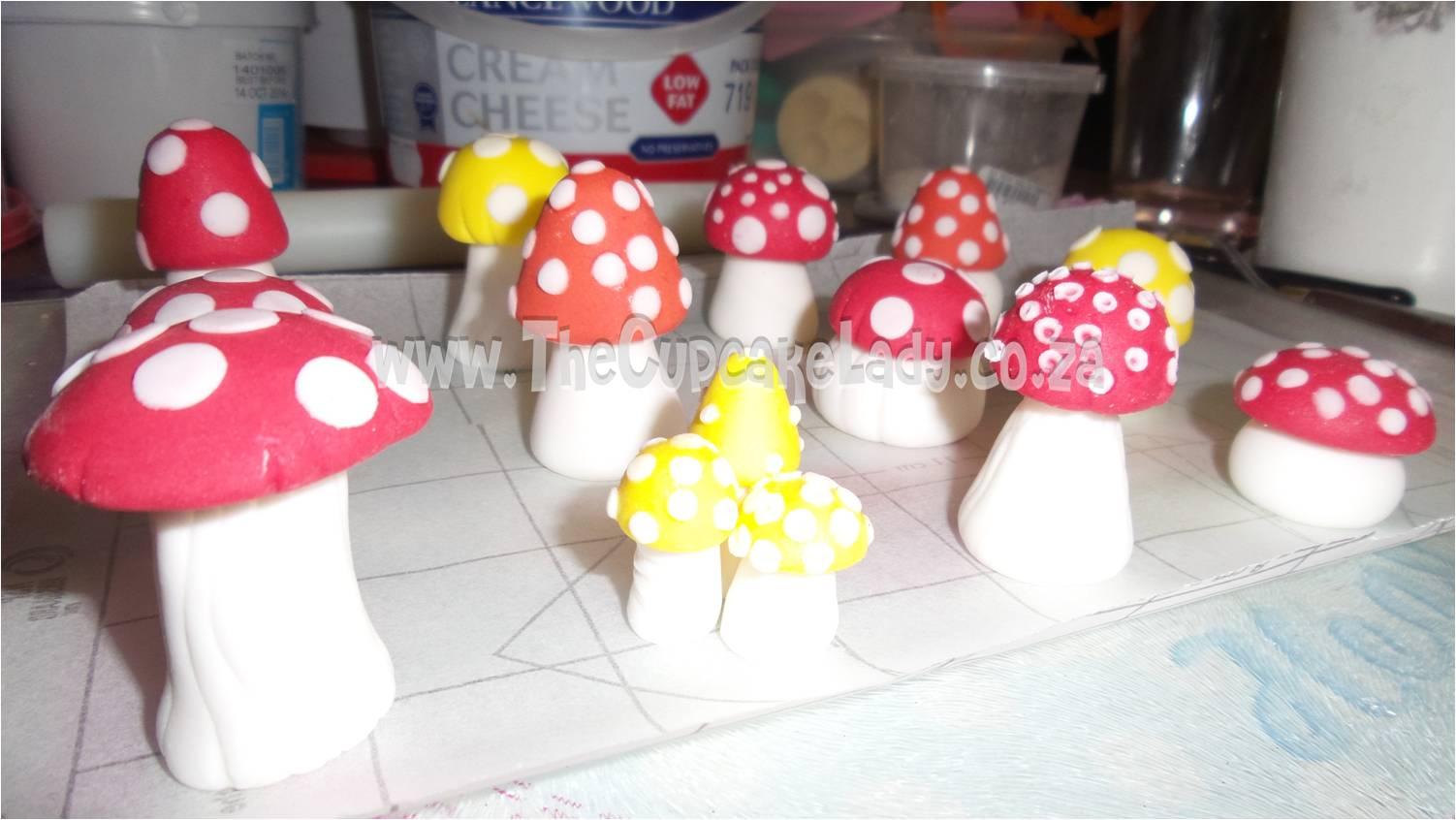 hand made sugar paste toadstools