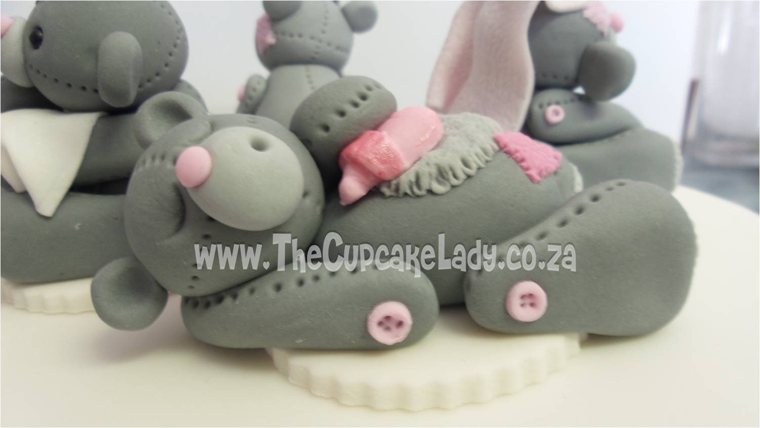 sugar paste, fondant, cake topper, hand made, bear, pink and grey, sleeping