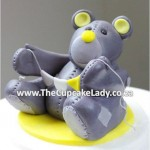 Cake artist, sugar artist, Vorna Valley, Midrand. Hand made sugar paste bear with bunting cake topper