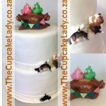 Cake artist, sugar artist, Vorna Valley, Midrand. Two-tier wedding cake with a custom made owl cake topper and sugar paste Beagles on the side