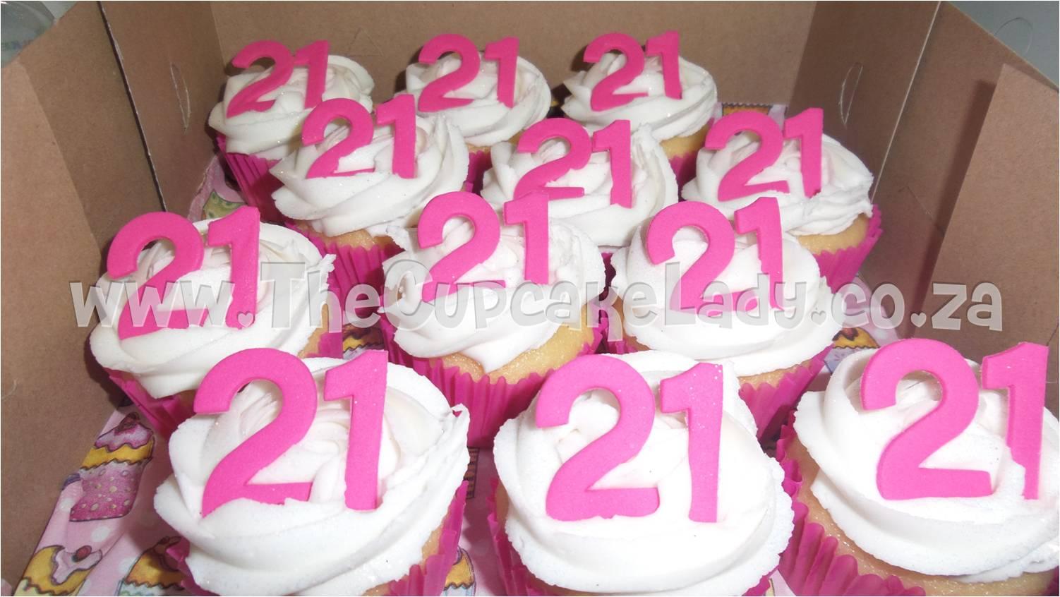 vanilla cupcakes, vanilla butter icing, sugar paste 21, pink