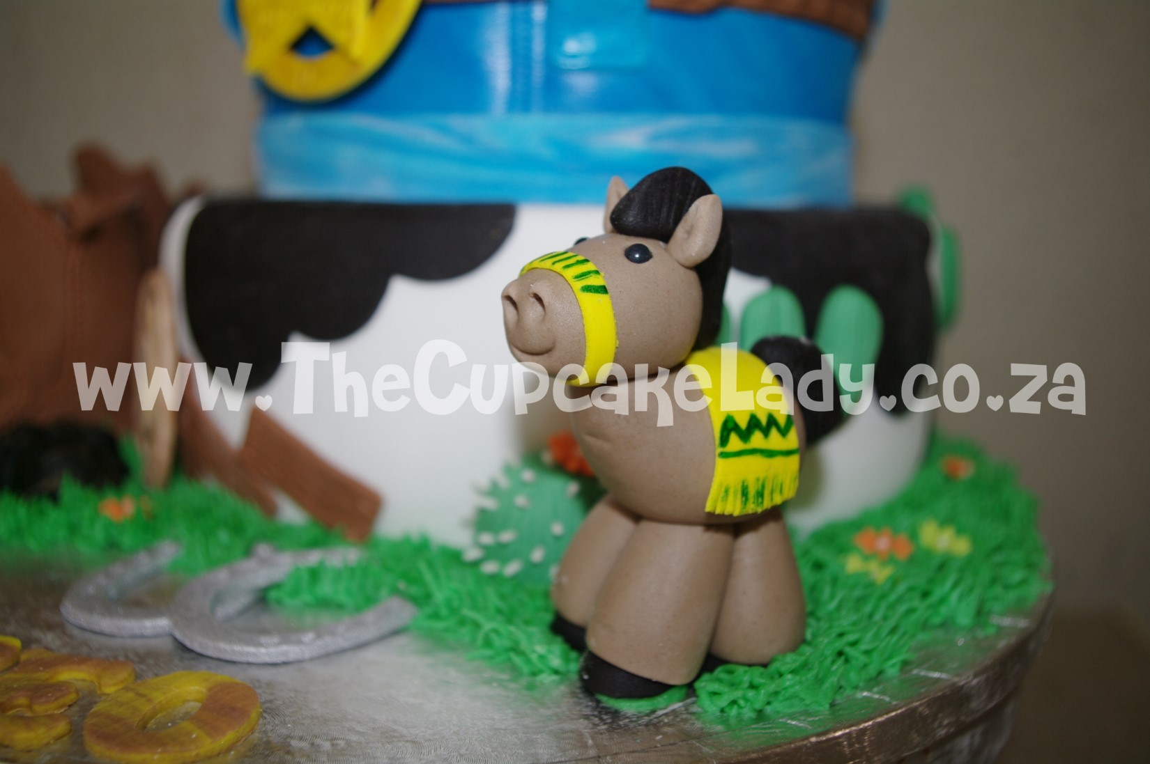 cowboy theme, western theme, two tier cake, birthday cake, custom made sugar paste fondant decorations - pony, cactii, horseshoes