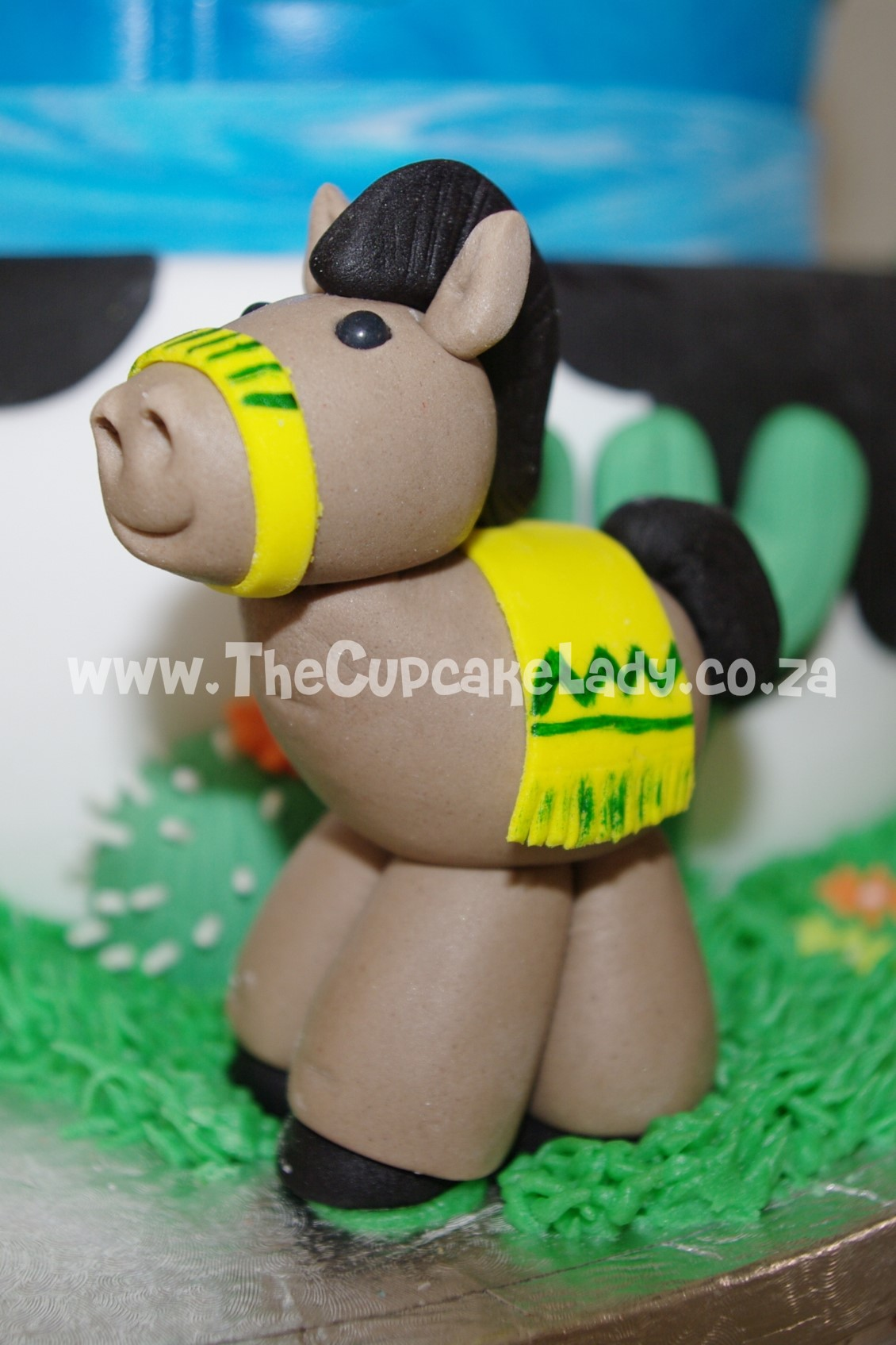 cowboy theme, western theme, two tier cake, birthday cake, custom made sugar paste fondant decorations - pony
