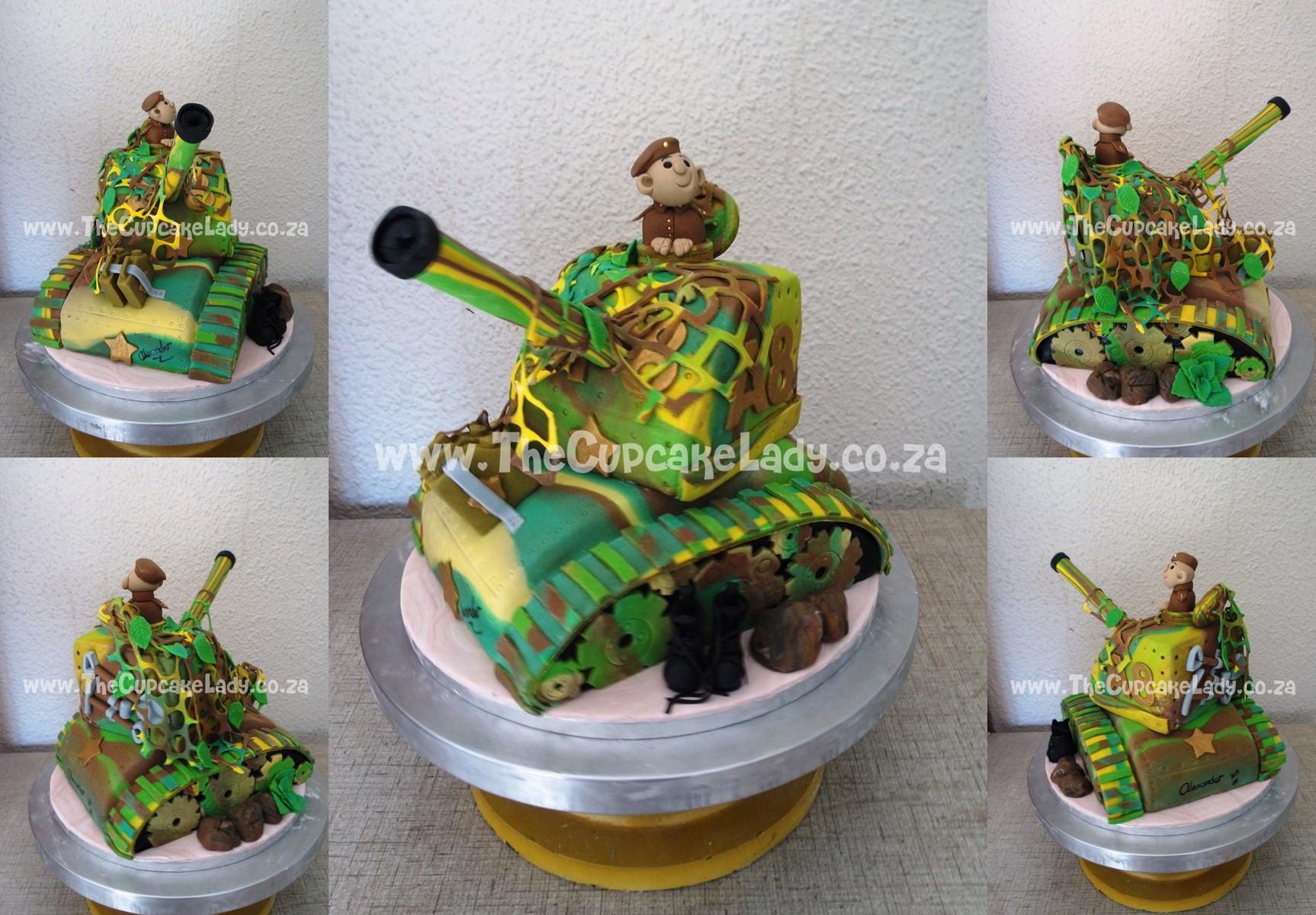 Custom made, sugar paste boots, sugar paste soldier tank driver wearing a beret, tank cake, army cake, novelty cake, sculpted cake, green yellow brown colour scheme, camouflage