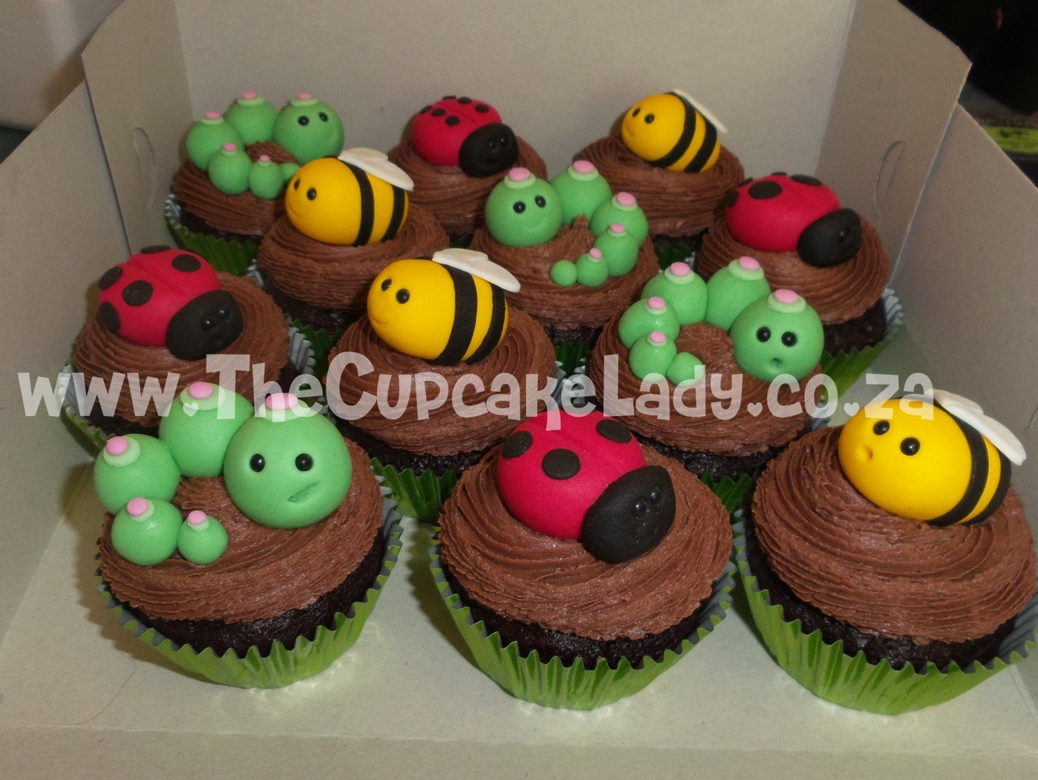 chocolate cupcakes in green foil paper cups with chocolate butter icing decorated with hand made sugar paste bees, ladybugs and worms
