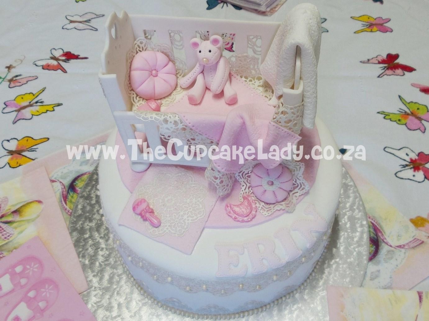 baby shower, baby girl, cake, sugar paste cot, sugar paste pillows, sugar paste blankets, edible lace, pearls