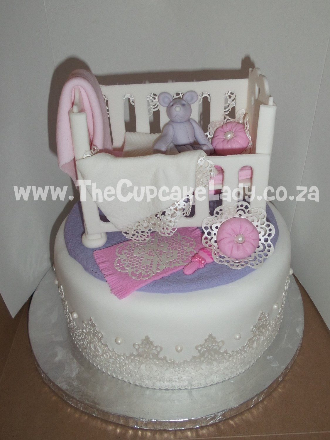 baby shower, nursery-theme, cake, carrot cake, cream cheese icing, , cot and all its extras - the lace, blankets, cushions and all - are hand made of sugar paste and completely edible