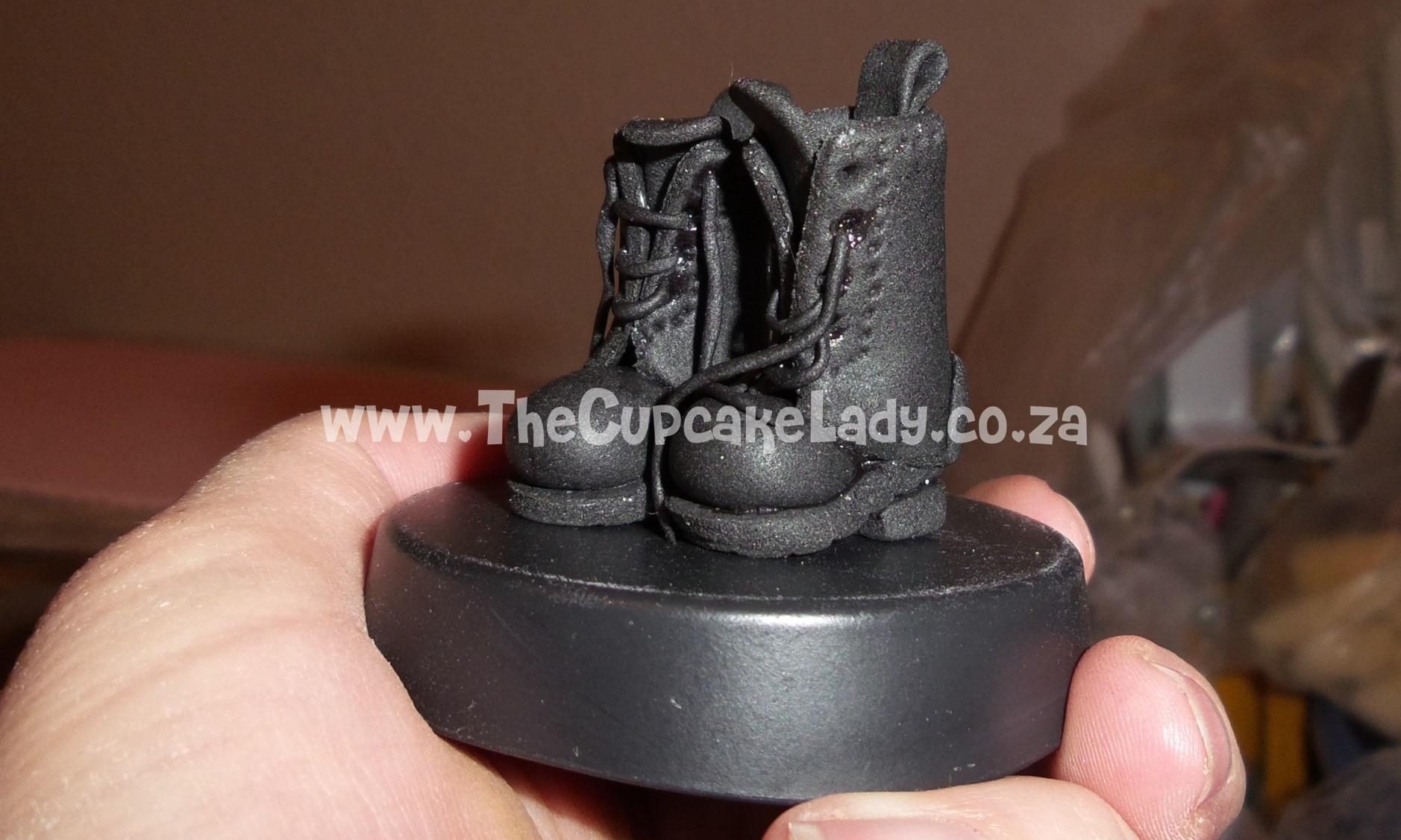 hand made, custom made, sugar paste army boots