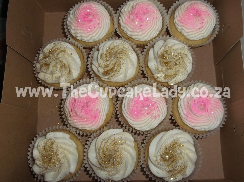 vanilla cupcakes, vanilla butter icing, cream cheese icing filling