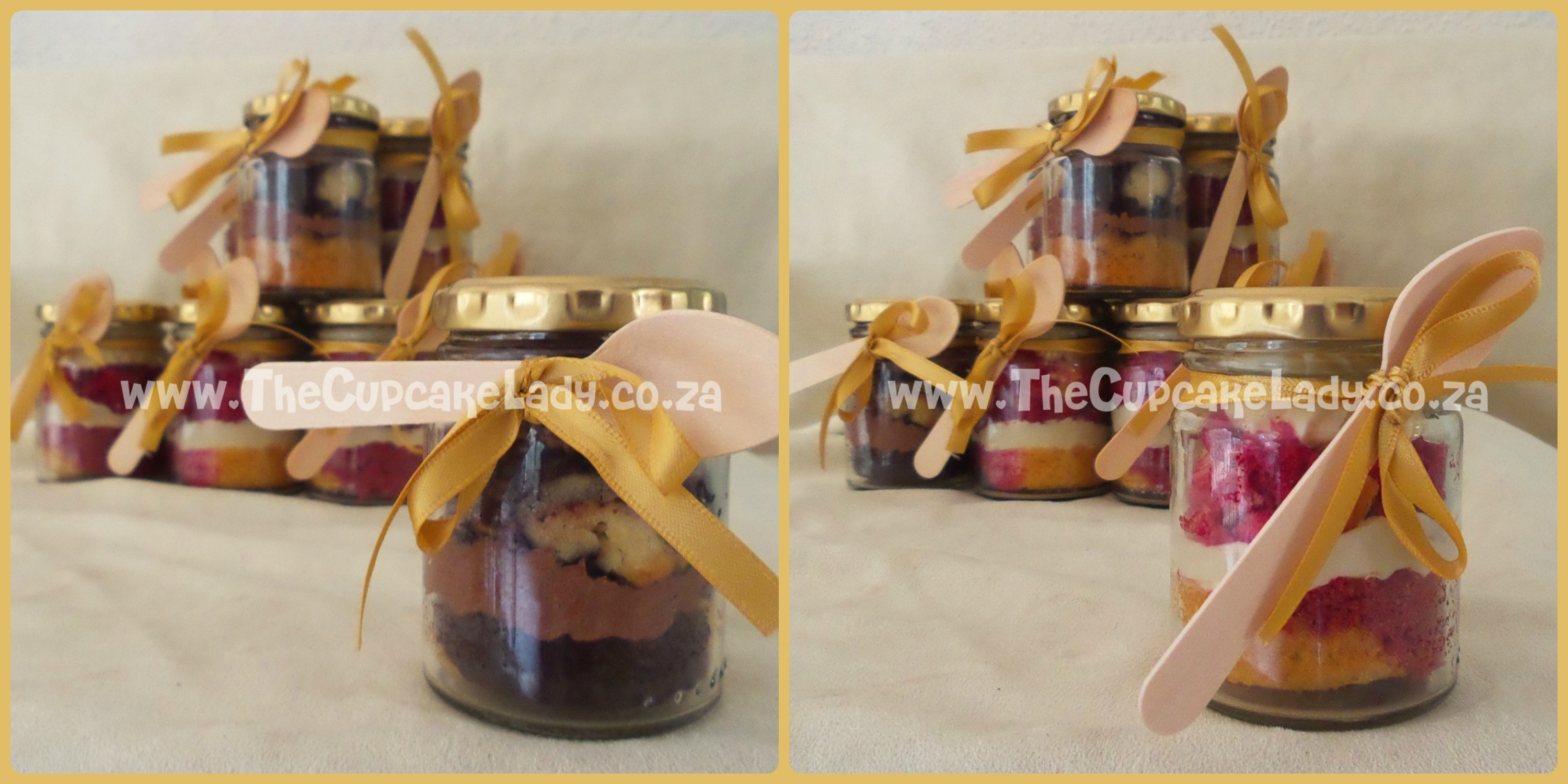 cupcake-in-a-jar, gold ribbons, wooden spoons, vanilla chocolate marble cupcakes, chocolate butter icing, vanilla red velvet marble cupcakes, cream cheese icing