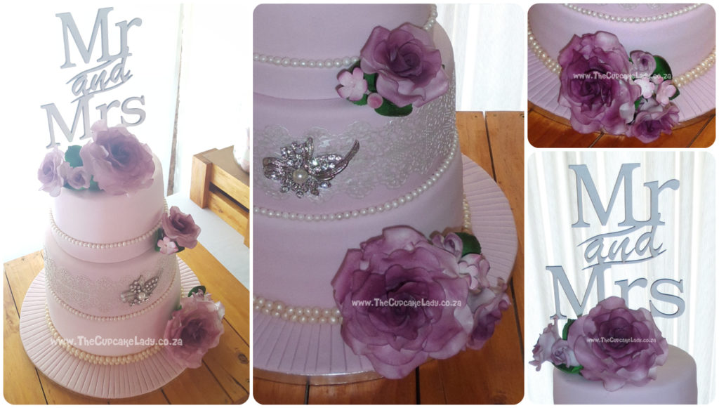 Wedding cake, vanilla cake, three tiers, sugar roses, edible lace, sugar pearls