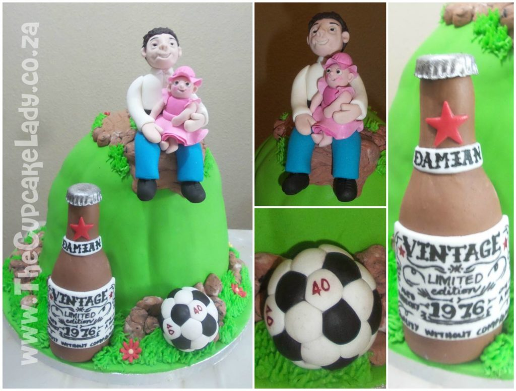 """Midrand cake artist, cupcakes, cakes and sugar art. This sugar display piece is in celebration of Damian's 40th birthday, making him """"over the hill"""". He's sitting just over the crest of the hill, with a pathway up the back of the hill, with his little girl on his lap."""