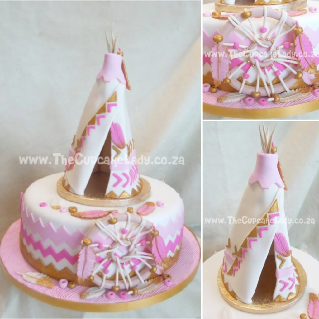 Midrand cake artist, cupcakes, cakes and sugar art. A vanilla cake with vanilla buttercream for a tribal princess themed party. The chevrons were cut by hand as I don't have a cutter, and I couldn't find a tutorial for the teepee ANYwhere so I made it up as I went along! :D