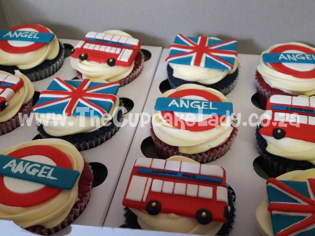 Midrand cake artist, cupcakes, cakes and sugar art. Custom made sugar paste cupcake toppers, London-themed British flags, London buses and London Underground signs, on red velvet and blue velvet cupcakes with cream cheese icing